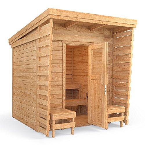 isidor outdoorsauna saunakabine sauna 2x2m massivholz pultdach inklusive harvia bc80 - ISIDOR Outdoorsauna Saunakabine Sauna 2x2m Massivholz Pultdach (inklusive HARVIA BC80)