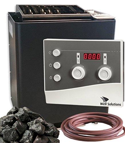Well Solutions Saunaofen Bio Mat Premium 9 kW - Made in Germany/Saunasteuerung K3 / Saunasteine / 2m Silikonkabel für Ofen und Verdampfer/Original Well Solutions