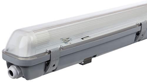 Mueller Licht LED Feuchtraumleuchte 60 cm fuer hoechsten Lichtkomfort schoenes neutralweisses - Müller-Licht LED-Feuchtraumleuchte 60 cm für höchsten Lichtkomfort - schönes neutralweißes Licht (4000 K) für optimale Arbeitsbeleuchtung - 1 x 10 W LED-Röhre - IP65 - grau