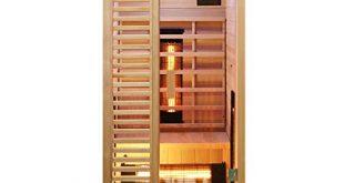 Dewello Infrarotkabine HAMLIN 90x90cm fuer 1 Person aus Hemlock Holz 310x165 - Dewello Infrarotkabine HAMLIN 90x90cm für 1 Person aus Hemlock Holz mit Vollspektrumstrahler